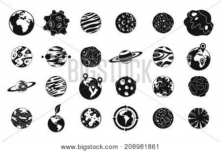 Universe planet icon set. Simple set of universe planet vector icons for web design isolated on white background