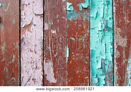 Texture wooden background of old wooden painted texture surface with texture peeling paint. Wooden texture background with texture of peeling paint on the wooden texture surface. Peeling paint texture on the wooden texture background