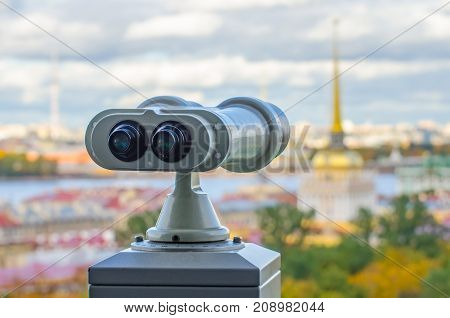 Beautiful View To Spires Of Admiralty And Peter-pavel's Fortress From Isaac Cathedral In Binoculars,