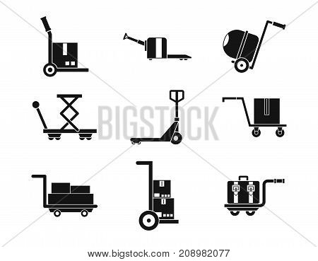 Wharehouse cart icon set. Simple set of wharehouse cart vector icons for web design isolated on white background