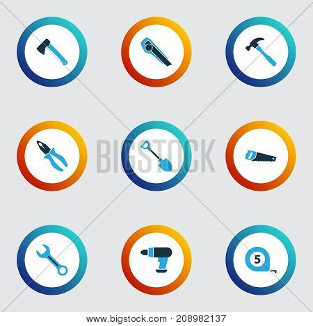 Tools Colorful Icons Set. Collection Of Meter, Axe, Handsaw Elements