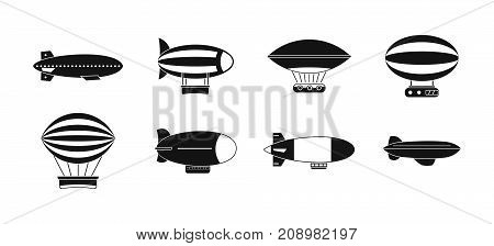 Air ship icon set. Simple set of air ship vector icons for web design isolated on white background