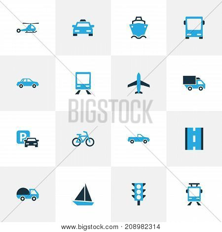 Shipment Colorful Icons Set. Collection Of Cab, Tanker, Autobus And Other Elements