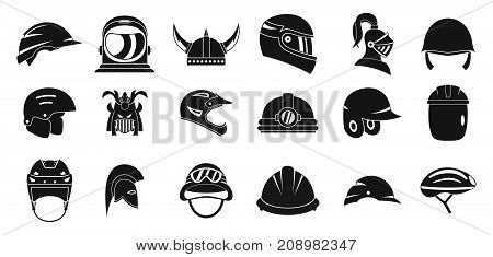 Helmet icon set. Simple set of helmet vector icons for web design isolated on white background