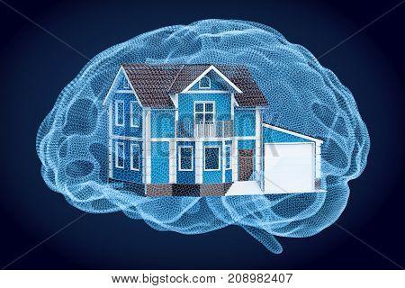 Smart house technology concept 3D rendering on black