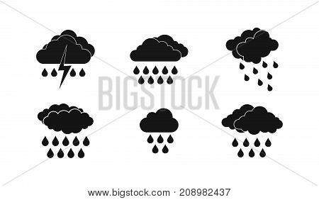 Rainy cloud icon set. Simple set of rainy cloud vector icons for web design isolated on white background