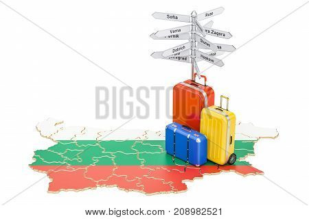 Bulgaria travel concept. Bulgarian flag on map with suitcases and signpost 3D rendering