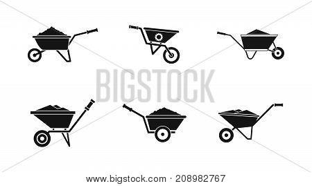 Wheelbarrow icon set. Simple set of wheelbarrow vector icons for web design isolated on white background