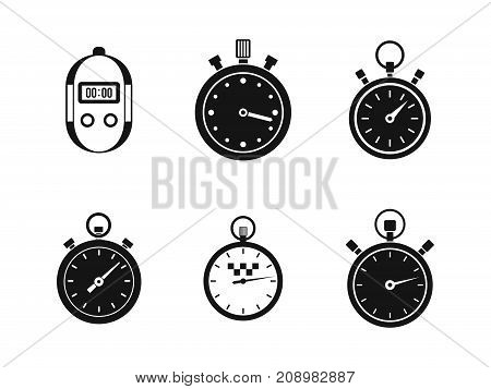 Stopwatch icon set. Simple set of stopwatch vector icons for web design isolated on white background