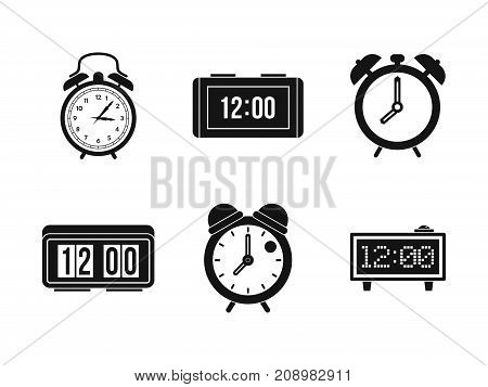 Alarm clock icon set. Simple set of alarm clock vector icons for web design isolated on white background