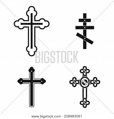 Cross icon set. Simple set of cross vector icons for web design isolated on white background