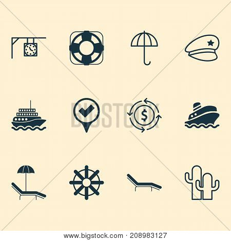 Tourism Icons Set. Collection Of Checked Pointer, Sea Rescue, Steering Wheel And Other Elements