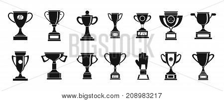 Trophy cup icon set. Simple set of trophy cup vector icons for web design isolated on white background