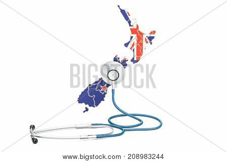 New Zealand map with stethoscope national health care concept 3D rendering