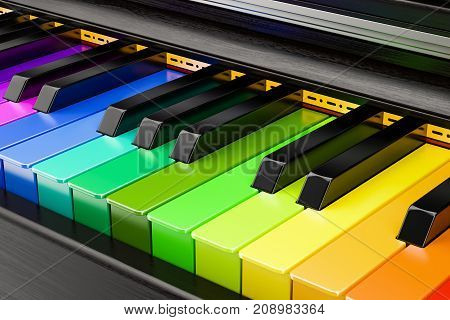 Piano colored keyboard music concept. 3D rendering