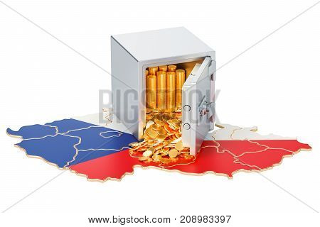 Safe box with golden coins on the map of Czech Republic 3D rendering isolated on white background