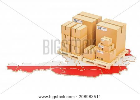 Shipping and Delivery from Austria isolated on white background
