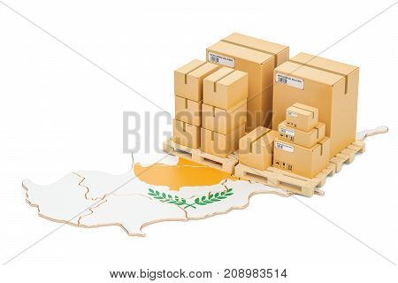 Shipping and Delivery from Cyprus isolated on white background