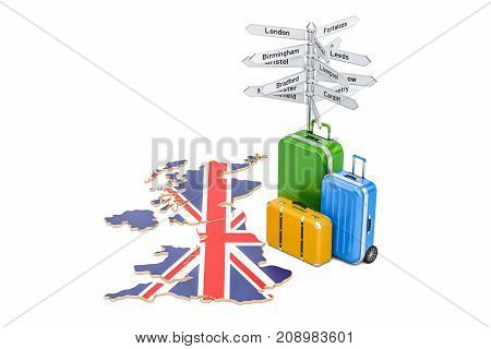 United Kingdom travel concept. British flag on map with suitcases and signpost 3D rendering