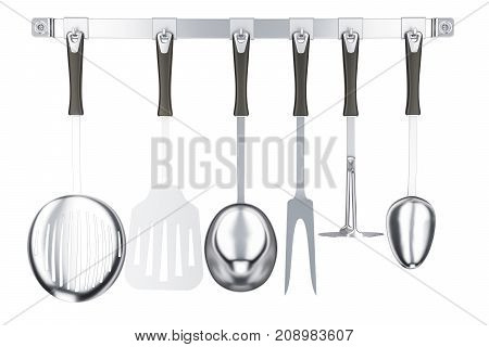 Various kitchen utensils on a kitchen hook strip 3D rendering isolated on white background
