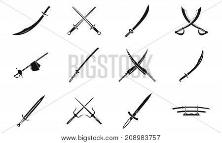 Sword icon set. Simple set of sword vector icons for web design isolated on white background