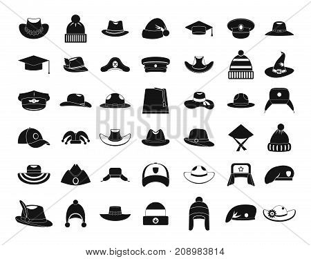 Hat icon set. Simple set of hat vector icons for web design isolated on white background