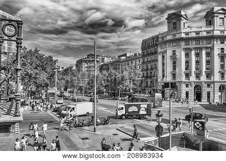 Passeig De Gracia, View From Casa Batllo, Barcelona, Catalonia, Spain