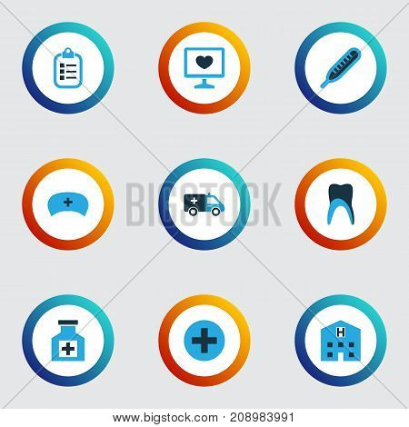 Antibiotic Colorful Icons Set. Collection Of Doctor Hat, Hospital, Remedy And Other Elements