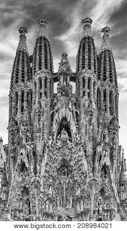 Nativity Facade Of The Sagrada Familia, Barcelona, Catalonia, Spain