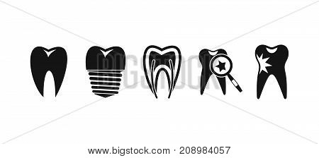Tooth icon set. Simple set of tooth vector icons for web design isolated on white background