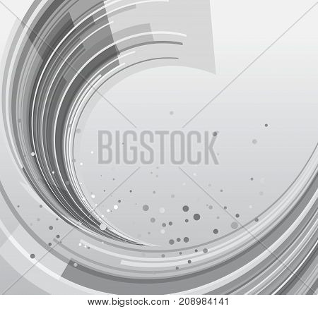 Abstract rounded silver background, monochrome template, vector illustration