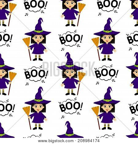Abstract Seamless Pattern For Girls Or Boys. Creative Vector Background With Young Witch, Halloween.