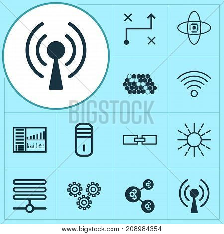 Learning Icons Set. Collection Of Solution, Radio Waves, Atomic Cpu And Other Elements