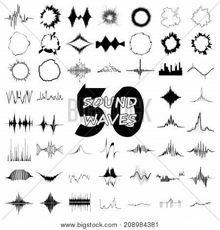 50 Sound wave audio icons set. Simple illustration of 16 sound wave audio vector icons for web