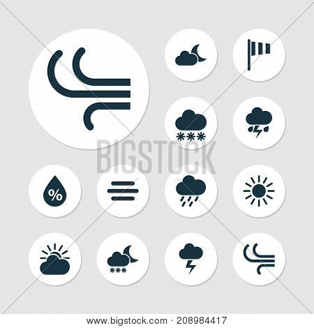 Weather Icons Set. Collection Of Moonlight, Night, Douche And Other Elements