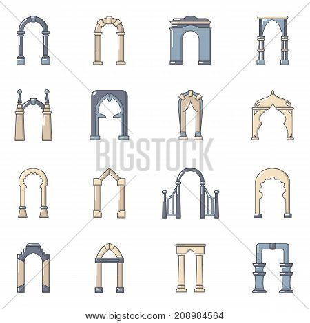 Arch types icons set. Cartoon illustration of 16 arch types vector icons for web