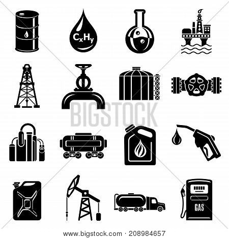 Oil industry icons set. Simple illustration of 16 oil industry vector icons for web