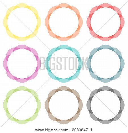 Set of 9 isolated vector abstract frame spirograph badges in different colors