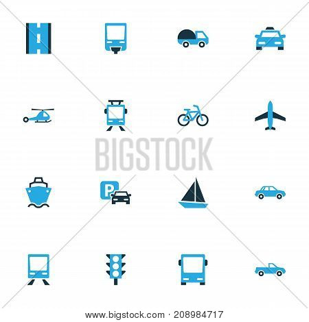 Transport Colorful Icons Set. Collection Of Auto, Cabriolet, Bicycle And Other Elements