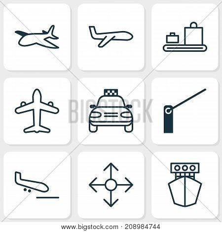 Vehicle Icons Set. Collection Of Car Vehicle, Air Transport, Plane And Other Elements