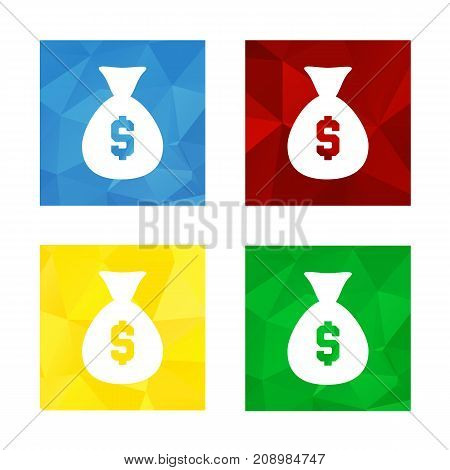 Colorful triangular low poly button in square shape with flat icon representing bag of money with dollar sign