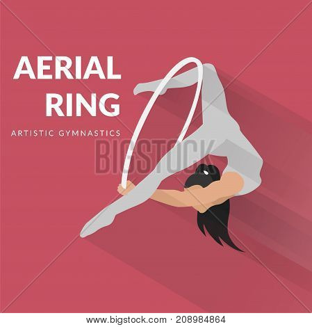 Woman gymnast aerial ring, isolated on pink. Aerial hoop. Beautiful dance sport and fitness logo.