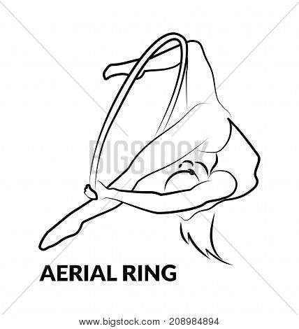 Woman gymnast aerial ring, line design, isolated on white. Aerial hoop. Beautiful dance sport and fitness logo.