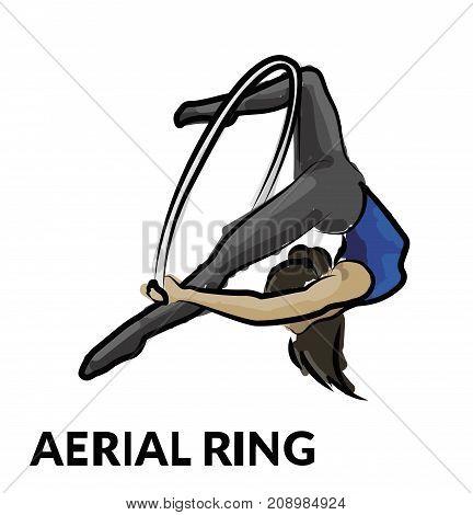 Woman gymnast aerial ring, sketch. Aerial hoop. Beautiful dance sport and fitness logo.