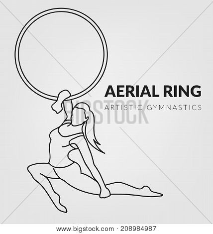 Woman gymnast silhouette aerial ring. Aerial hoop. Beautiful dance sport and fitness logo.