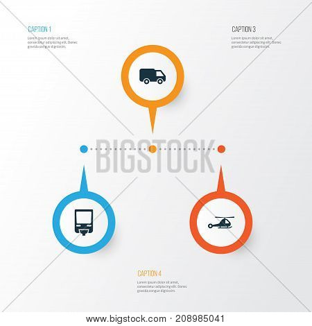 Transport Icons Set. Collection Of Truck, Chopper, Railroad And Other Elements