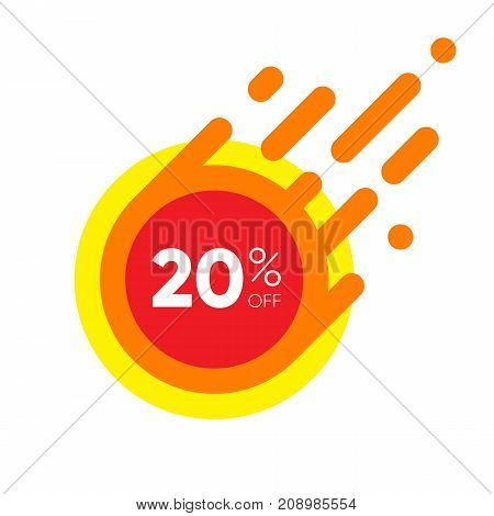 Twenty percent OFF Sale Discount Banner. Special offer red label. Flat designed Sticker Illustration isolated on white Background