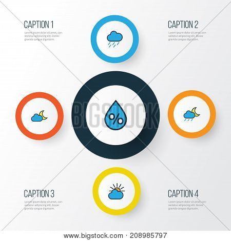 Climate Colorful Outline Icons Set. Collection Of Twilight, Lunar, Raindrop And Other Elements