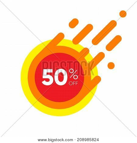 Fifty percent OFF Sale Discount Banner. Special offer red label. Flat designed Sticker Illustration isolated on white Background