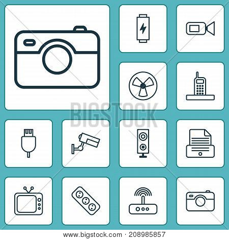 Hardware Icons Set. Collection Of Charge, Extension Cord, Surveillance And Other Elements